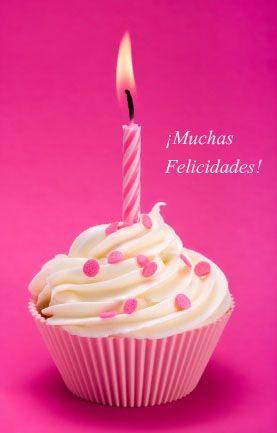 Pink birthday cupcake against a magenta background