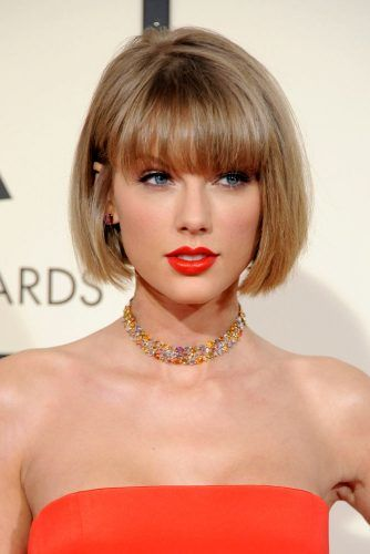 Taylor Swift Stacked Bob With Blunt Bangswidth=