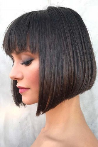 Classic Bob Haircut With French Fringewidth=