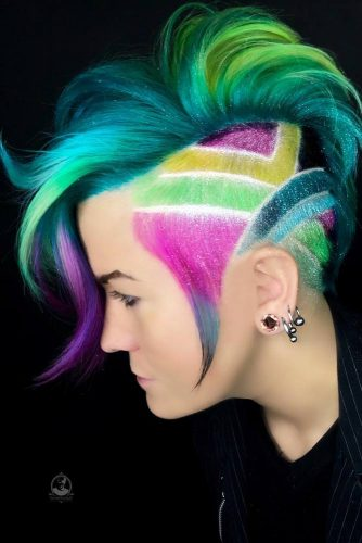 Tapered Haircut With Colored Shaved Sidewidth=
